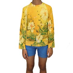 Wonderful Soft Yellow Flowers With Dragonflies Kid s Long Sleeve Swimwear