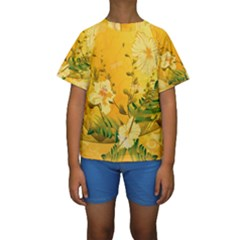 Wonderful Soft Yellow Flowers With Dragonflies Kid s Short Sleeve Swimwear