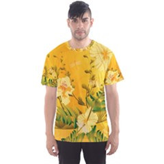 Wonderful Soft Yellow Flowers With Dragonflies Men s Sport Mesh Tees