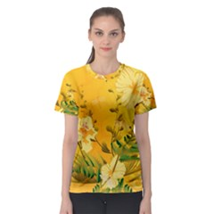 Wonderful Soft Yellow Flowers With Dragonflies Women s Sport Mesh Tees