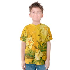 Wonderful Soft Yellow Flowers With Dragonflies Kid s Cotton Tee