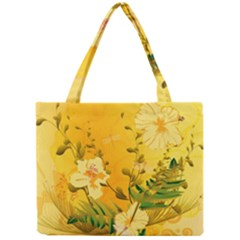 Wonderful Soft Yellow Flowers With Dragonflies Tiny Tote Bags