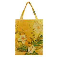 Wonderful Soft Yellow Flowers With Dragonflies Classic Tote Bags