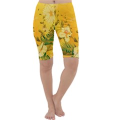 Wonderful Soft Yellow Flowers With Dragonflies Cropped Leggings