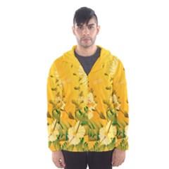 Wonderful Soft Yellow Flowers With Dragonflies Hooded Wind Breaker (men)