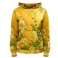 Wonderful Soft Yellow Flowers With Dragonflies Women s Pullover Hoodies
