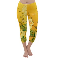 Wonderful Soft Yellow Flowers With Dragonflies Capri Winter Leggings