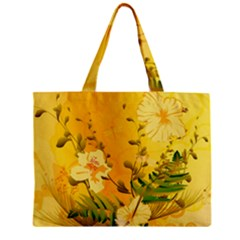 Wonderful Soft Yellow Flowers With Dragonflies Zipper Tiny Tote Bags