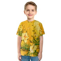 Wonderful Soft Yellow Flowers With Dragonflies Kid s Sport Mesh Tees