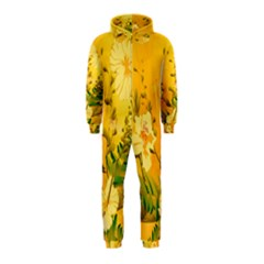 Wonderful Soft Yellow Flowers With Dragonflies Hooded Jumpsuit (Kids)