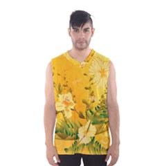 Wonderful Soft Yellow Flowers With Dragonflies Men s Basketball Tank Top