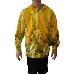 Wonderful Soft Yellow Flowers With Dragonflies Hooded Wind Breaker (Kids)