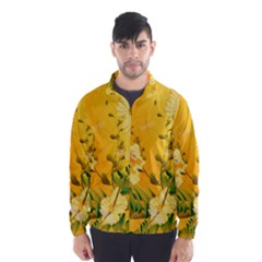Wonderful Soft Yellow Flowers With Dragonflies Wind Breaker (men)