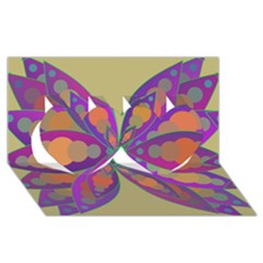 Fly-Mandala Twin Hearts 3D Greeting Card (8x4)