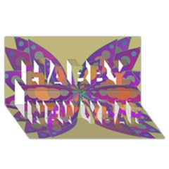 Fly Mandala Happy New Year 3d Greeting Card (8x4)