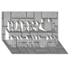 Alternating Grey Brick Happy Birthday 3d Greeting Card (8x4)