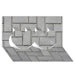 Alternating Grey Brick Twin Hearts 3d Greeting Card (8x4)