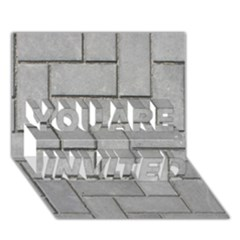 Alternating Grey Brick You Are Invited 3d Greeting Card (7x5)