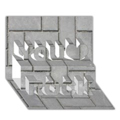 ALTERNATING GREY BRICK You Rock 3D Greeting Card (7x5)