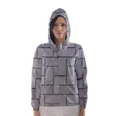Alternating Grey Brick Hooded Wind Breaker (women)