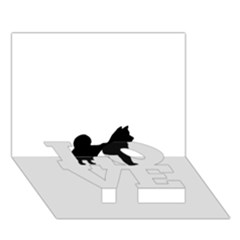 Shiba Inu Silhouette LOVE Bottom 3D Greeting Card (7x5)