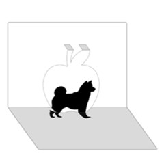 Shiba Inu Silhouette Apple 3D Greeting Card (7x5)