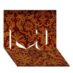 Royal Red And Gold I Love You 3d Greeting Card (7x5)