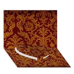 ROYAL RED AND GOLD Heart Bottom 3D Greeting Card (7x5)