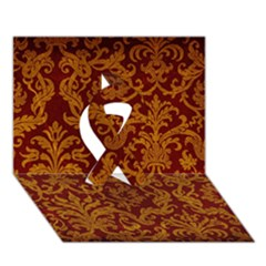 ROYAL RED AND GOLD Ribbon 3D Greeting Card (7x5)