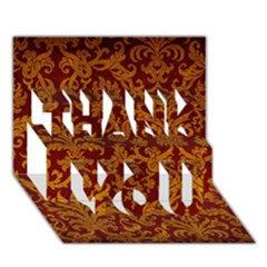 ROYAL RED AND GOLD THANK YOU 3D Greeting Card (7x5)