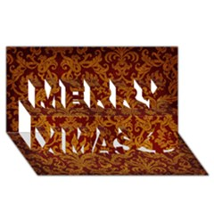 Royal Red And Gold Merry Xmas 3d Greeting Card (8x4)