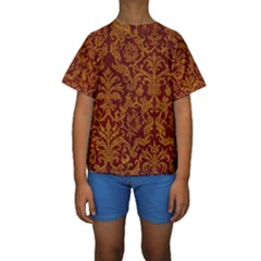ROYAL RED AND GOLD Kid s Short Sleeve Swimwear