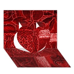 RED PATCHWORK Heart 3D Greeting Card (7x5)
