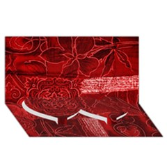 RED PATCHWORK Twin Heart Bottom 3D Greeting Card (8x4)