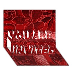 Red Patchwork You Are Invited 3d Greeting Card (7x5)