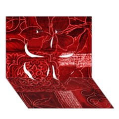 Red Patchwork Clover 3d Greeting Card (7x5)