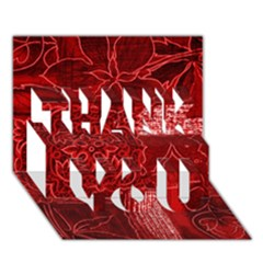 RED PATCHWORK THANK YOU 3D Greeting Card (7x5)