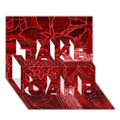 RED PATCHWORK TAKE CARE 3D Greeting Card (7x5)