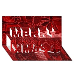 Red Patchwork Merry Xmas 3d Greeting Card (8x4)