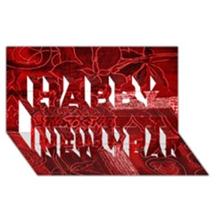 Red Patchwork Happy New Year 3d Greeting Card (8x4)