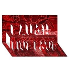 RED PATCHWORK Laugh Live Love 3D Greeting Card (8x4)