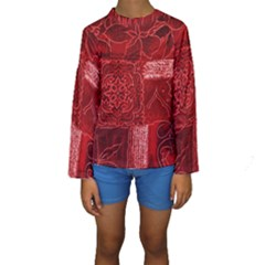 Red Patchwork Kid s Long Sleeve Swimwear
