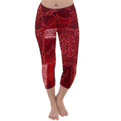 RED PATCHWORK Capri Winter Leggings