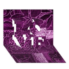 MAGENTA PATCHWORK LOVE 3D Greeting Card (7x5)