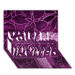 MAGENTA PATCHWORK YOU ARE INVITED 3D Greeting Card (7x5)