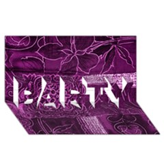 Magenta Patchwork Party 3d Greeting Card (8x4)