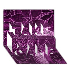 Magenta Patchwork Take Care 3d Greeting Card (7x5)