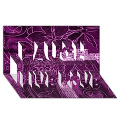 Magenta Patchwork Laugh Live Love 3d Greeting Card (8x4)