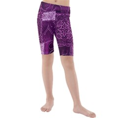 MAGENTA PATCHWORK Kid s Mid Length Swim Shorts