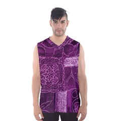 Magenta Patchwork Men s Basketball Tank Top